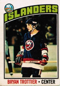 bryan trottier rookie hockey card 1976-77 o-pee-chee topps new york islanders