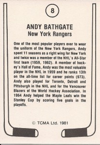 back of andy bathgate 1981-82 tcma hockey card new york rangers