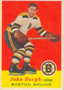 john bucyk 1957-58 topps 10 rookie hockey card boston bruins