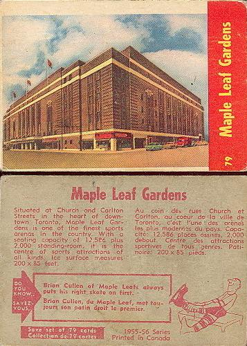 1955-56 parkhurst 79 maple leaf gardens hockey card
