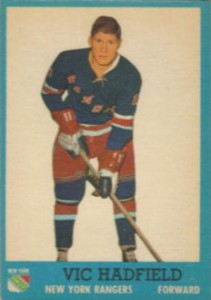 vic hadfield rookie hockey card 1962-63 topps new york rangers