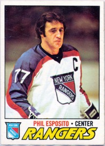 phil esposito 1977-78 o-pee-chee hockey card phil esposito error new york rangers