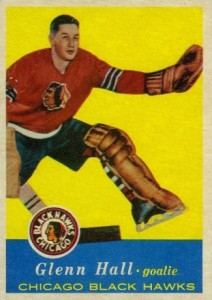 glenn hall 1957-58 topps 20 rookie hockey card chicago black hawks