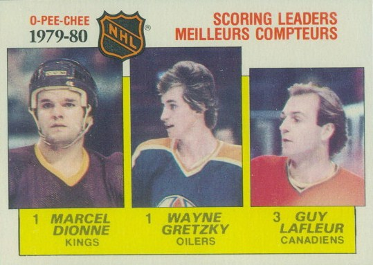 1979-80 art ross trophy marcel dionne wayne gretzky, guy lafleur o-pee-chee hockey card