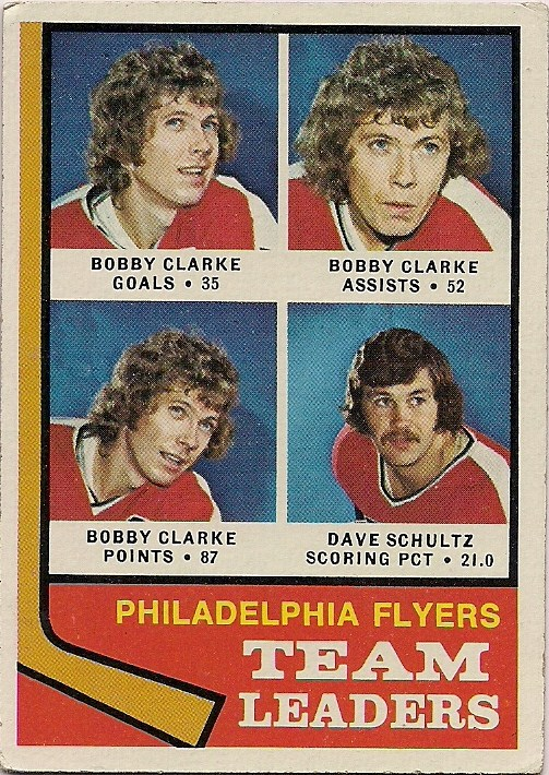 1974-75 topps hockey card philadelphia flyers team leaders