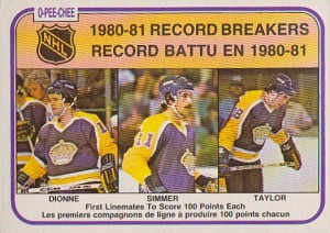 1981-82 o-pee-chee los angeles kings triple crown line rb