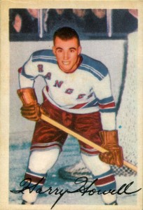 harry howell 1953-54 parkhurst rookie card new york rangers