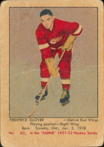 fred glover rookie card 1951-52 parkhurst rookie card detroit red wings
