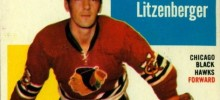 ed litzenberger chicago blackhawks 1960-61 topps hockey card