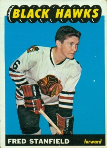 fred stanfield chicago blackhawks 1965-66 topps rookie card