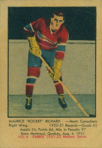 maurice richard montreal canadiens 1951-52 parkhurst nhl rookie hockey card