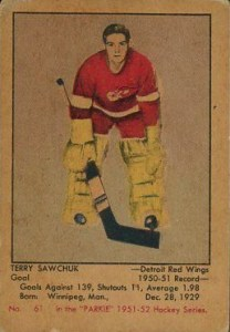 terry sawchuk detroit red wings 1951-52 parkhurst 61 rookie card