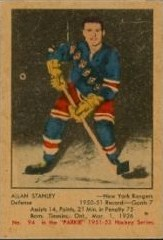allan stanley new york rangers 1951-52 parkhurst nhl rookie hockey card