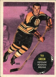 ted green boston bruins 1961-62 topps rookie hockey card