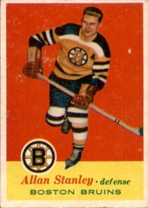 allan stanley boston bruins 1957-58 topps nhl hockey card