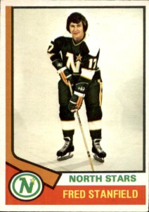 fred stanfield minnesota north stars 1974-75 o-pee-chee nhl hockey card