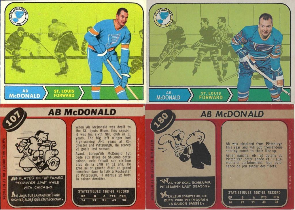 ab mcdonald st. louis blues 1968-69 o-pee-chee hockey cards
