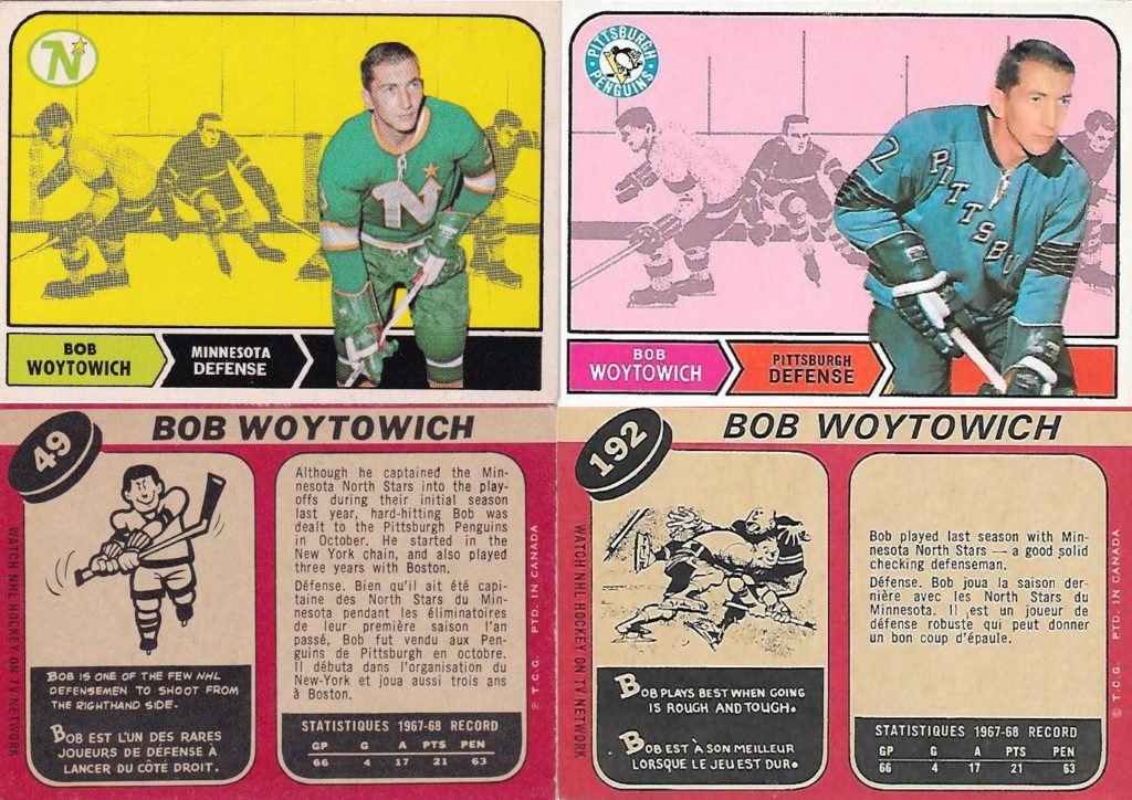 bob woytowich pittsburgh penguins 1968-69 o-pee-chee hockey cards