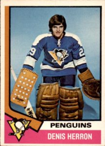 denis herron pittsburgh penguins 1974-75 o-pee-chee rookie hockey card