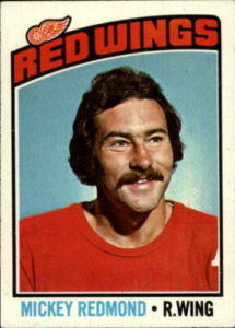 mickey redmond detroit red wings 1976-77 topps nhl hockey card