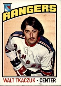 walt tkaczuk new york rangers 1976-77 o-pee-chee nhl hockey card