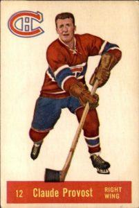 claude provost montreal canadiens 1957-58 parkhurst nhl rookie hockey card