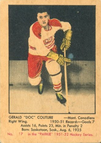 Gerry Couture Montreal Canadiens 1951 52 Parkhurst Rookie Card