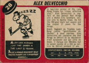 alex delvecchio detroit red wings 1968-69 o-pee-chee nhl hockey card